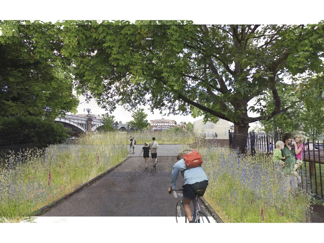Proposed view towards the River Thames from Down Hall Road